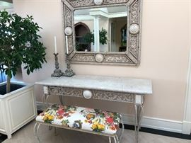 """entry stone and iron table with coordinating mirror and bench.  Console measures 66.5""""l x 22.5""""d x 32.5""""h asking $380 Mirrors is 1.5""""deep, 51"""" x 43"""" asking $260"""