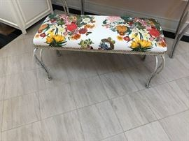 """wonderful iron upholstered bench - Zimmer & Rohde fabric asking $200 measures 40.5""""w x 16""""d x 21""""h."""
