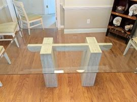 "Travertine Base Table w/Beveled Glass Top - 72"" Long x 42"" Wide"