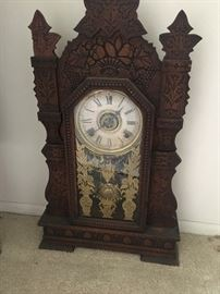 Beautiful carved wood antique clock