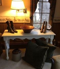 Victorian Shoes, Painted Table, Wooden Bowl (Contemporary) Accent Pillows