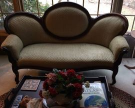 Victorian Loveseat and Butler's Tray Table