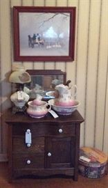 Victorian washstand, wash set, one of several electric oil lamps with hand painted shade (this lamp is a marriage)