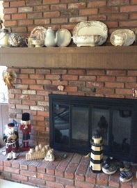 Decorative items including lighthouses, Christmas and transfer decorated china. There are more in each catagory