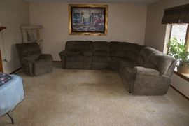 Lane Furniture Powered Sectional Sofa & Matching Reclining Chair