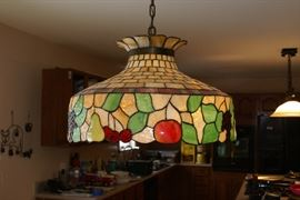Large Hanging Fruit Motif Stain Glass Light Fixture