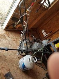 butane cans, floor buffer for concrete