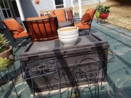 patio furniture, wrought iron chairs