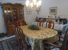 Beautiful Pennsylvania House Dining Room Table and China Cabinet