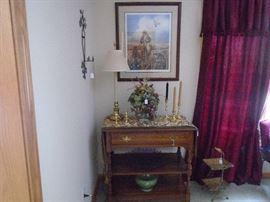 Pennsylvania house serving cart/ Baldwin brass candle sticks