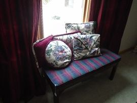Bench with matching pillows to dining room chairs