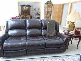 Barely a year old leather reclining sofa