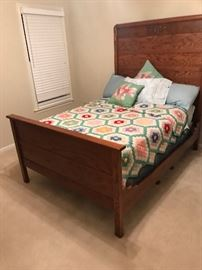 Antique full oak bed
