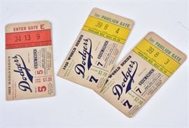 Brooklyn Dodger World Series Tickets 1955 and 1956             Bid on-line today through March 21st at www.fairfieldauction.com