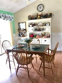 Tile Top Kitchen Table, Step Back Hutch, Rooster Collection (More than Pictured), Rolling Cart & More