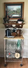 Rolling Cart, Artwork, Pitchers, Antique Kitchen Scale 7 More