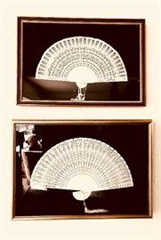 Japanese White Sandalwood Folding Fans w/ Glass Frame Accessories