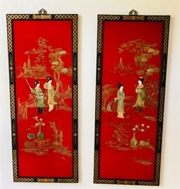 Red Lacquer Mother of Pearl Shibayama Japanese 2-Panel Screen