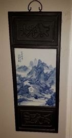 1 0f 4 Blue & White Tile and Wood Asian Wall Art