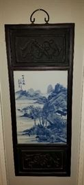 2 of 4 Blue & White Tile & Wood Asian Wall Art