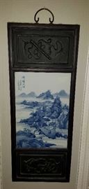 3 of 4 Blue & White Tile and Wood Asian Wall Art