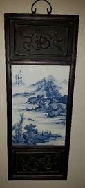 4 of 4 Blue & White Tile & Wood Asian Wall Art