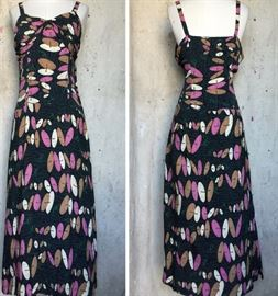 Amazing 1940s EYE POPPING ABSTRACT RAYON PRINT DRESS. It has a matching jacket too!