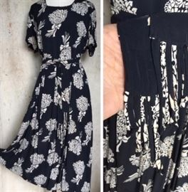 1940s Rayon Bouquet Print with a fringed belt