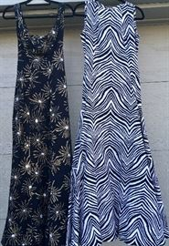 Beautiful Vintage Gowns, Zebra Couture and Abstract print with train.
