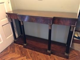 Federal hallway one drawer console , metal banded and fluted legs,