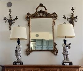 Fancy Gilt-Frame Mirror and French-Style Wall Sconces; Mid-Century Modern Rare Art Pottery  Lamps by Marcello Fantoni