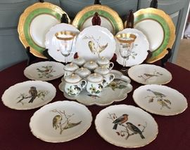 Antique Bavarian Plates, Limoges Pot de Creme, Bird Plates by Arzberg, and Gold-Rimmed Stems