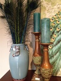 Vase with peacock feathers; good looking candle holders