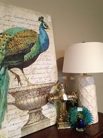 Peacock picture, cross, lamp, and small glass peacock