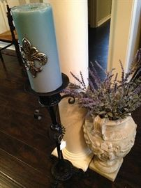 Candle holders; planter with artificial flowers