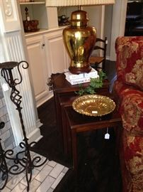Stack table used as end tables; 1 of 2 urn shaped brass lamps