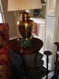 Round end table and brass lamp