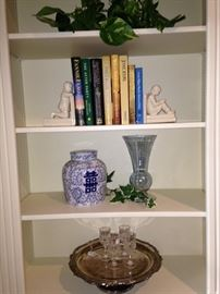 Bookends, vases, and silver plate tray