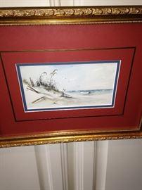 Beach scene framed art