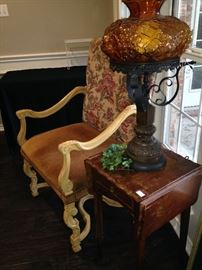 Leather and fabric arm chair; vintage lamp; small drop leaf side table
