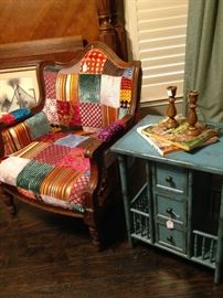Fun patchwork chair; darling robin egg blue side table