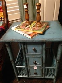 Robin egg blue side table with drawers and side storage
