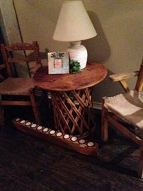 Wooden chairs and table; long candle holder