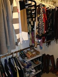 Sweaters, scarves, shoes, and boots