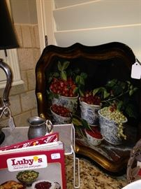 Luby's Recipe book; decorative tray