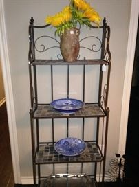 Small baker's rack; sunflowers in vase