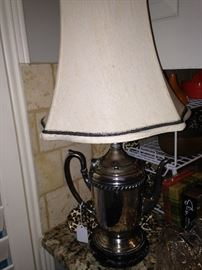 Silver plate coffee pot lamp