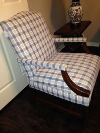 Blue and white arm chair