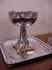 Fabulous Van Berghe compote on tall stand, Art Nouveau design, Rochester, N.Y.,  silverplated tray by Wm Rogers