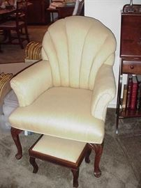 Fan back chair, with cabriole mahogany legs and small foot stool